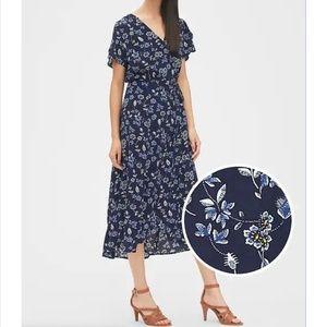 NWOT Gap Floral Print Midi Wrap Dress Size S